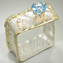 14K Gold & Crystalline Silver Diamond & Blue Topaz Ring - 15190-Fusion Designs-Renee Taylor Gallery
