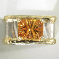 14K Gold & Crystalline Silver Citrine Ring - 15641-Fusion Designs-Renee Taylor Gallery