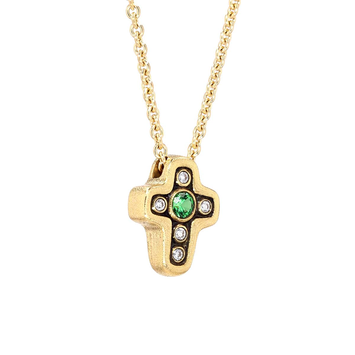 18K Cross Tsavorite & Diamond Pendant - M-1815-Alex Sepkus-Renee Taylor Gallery