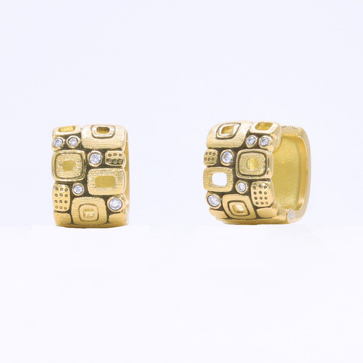 18K Little Windows Diamond Huggie Earrings - E-83-Alex Sepkus-Renee Taylor Gallery