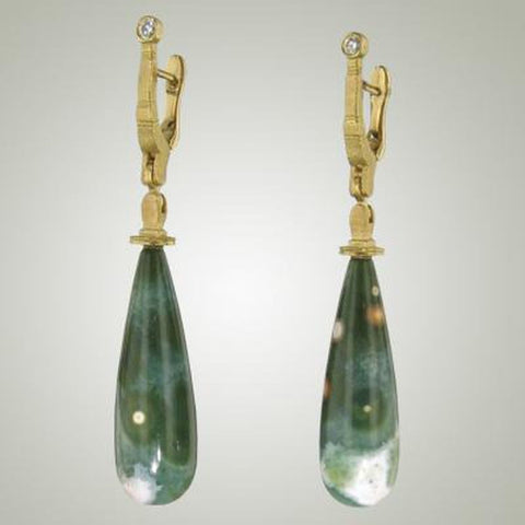 "18K ""Stick and Stones"" Jasper and Diamond Earrings - E-132D-Alex Sepkus-Renee Taylor Gallery"