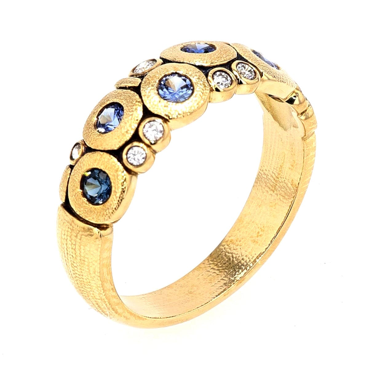 18K Candy Blue Mix Sapphire & Diamond Dome Ring - R-122S-Alex Sepkus-Renee Taylor Gallery