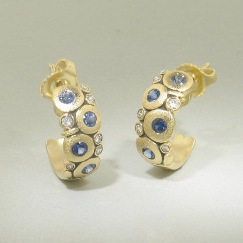 18K Candy Sapphire & Diamond Earrings - E-122S-Alex Sepkus-Renee Taylor Gallery
