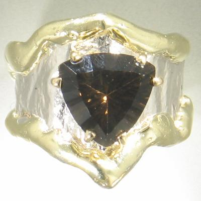 14K Gold & Crystalline Silver Smoky Quartz Ring - 17236-Fusion Designs-Renee Taylor Gallery