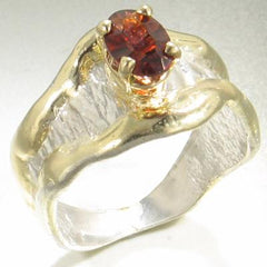 14K Gold & Crystalline Silver Garnet Ring - 17245-Fusion Designs-Renee Taylor Gallery