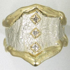 14K Gold & Crystalline Silver Diamond Ring - 17703-Fusion Designs-Renee Taylor Gallery