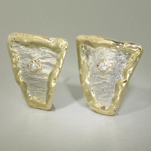 14K Gold & Crystalline Silver Diamond Earrings - 17727-Fusion Designs-Renee Taylor Gallery