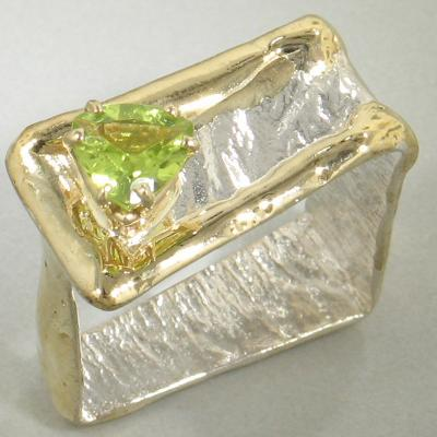 14K Gold & Crystalline Silver Peridot Ring - 18012-Fusion Designs-Renee Taylor Gallery