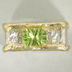 14K Gold & Crystalline Silver Peridot Ring - 18014-Fusion Designs-Renee Taylor Gallery