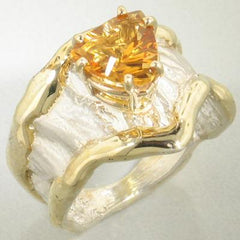 14K Gold & Crystalline Silver Citrine Ring - 18021-Fusion Designs-Renee Taylor Gallery