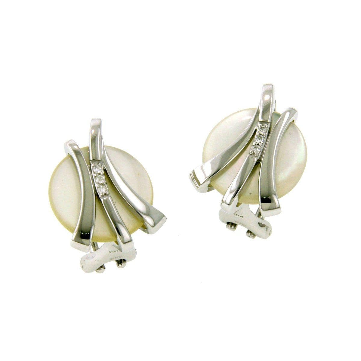 Rhodium Plated Sterling Silver Mother of Pearl Brilliant Diamond Earrings - 01/82634-Breuning-Renee Taylor Gallery