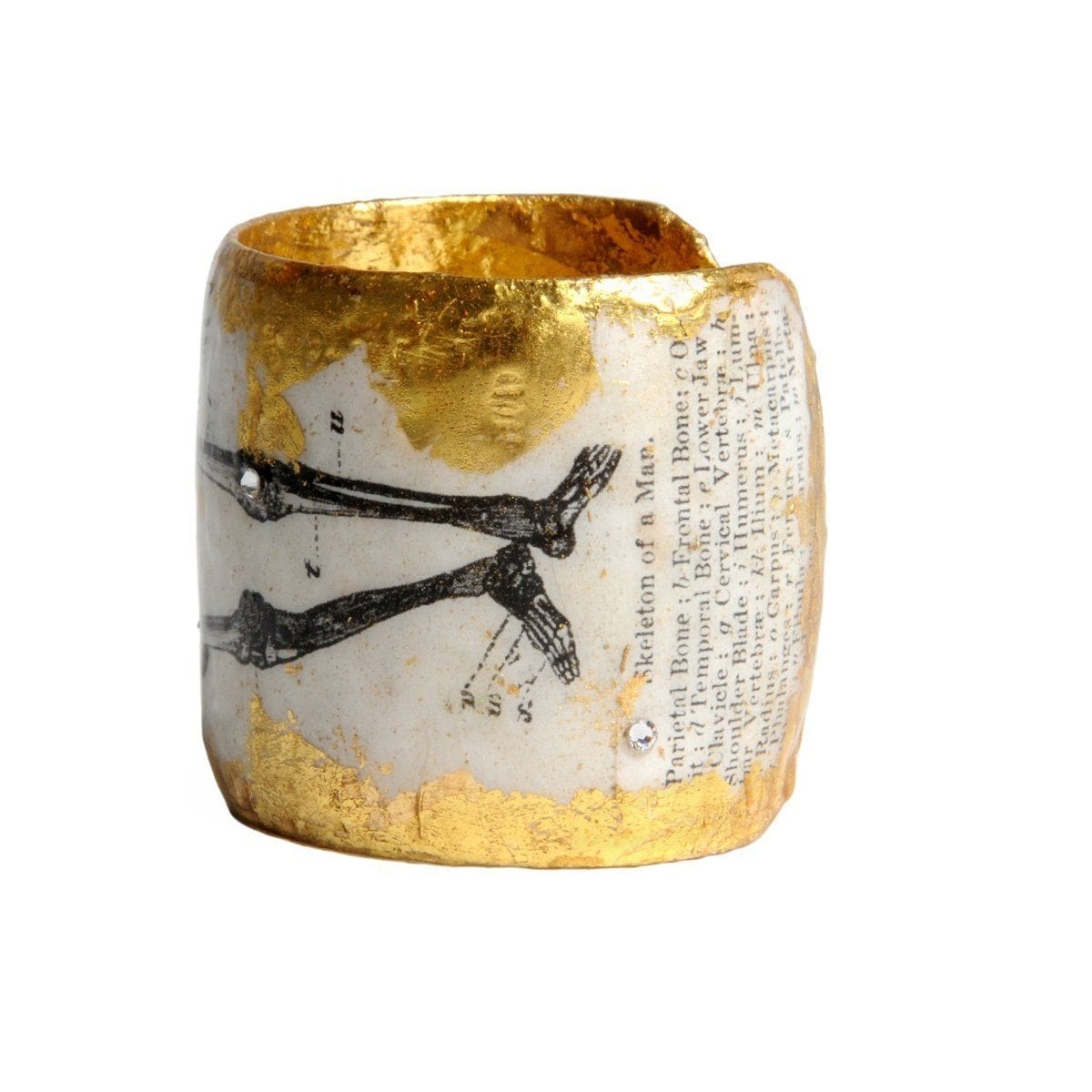 "1895 Skeleton 2"" Gold Cuff - CA102-Evocateur-Renee Taylor Gallery"