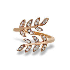18k Rose Gold Swirled Leaves Round Diamond Ring - LP2309-A-R-Simon G.-Renee Taylor Gallery