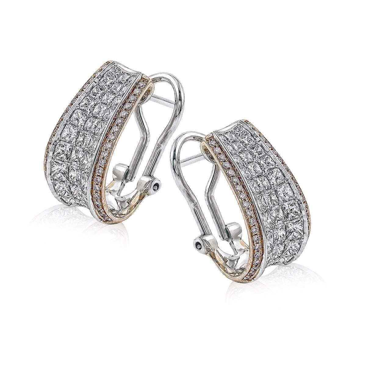 18k Rose & White Gold Simon Set Diamond Earrings - ME1902-RW-Simon G.-Renee Taylor Gallery