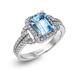 18K White Gold Aquamarine Ring - TR148-W-Simon G.-Renee Taylor Gallery