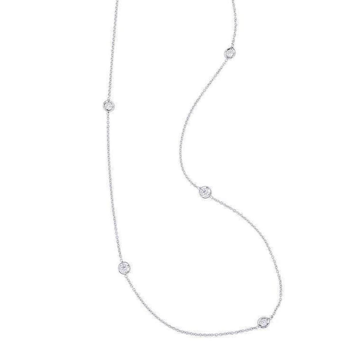 18k White Gold & Diamond 5 Station Necklace - 001316AWCHD0-Roberto Coin-Renee Taylor Gallery