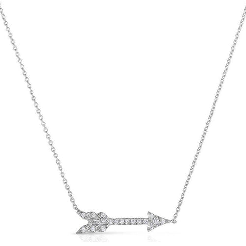 18k White Gold & Diamond Arrow Necklace - 000046AWCHX0-Roberto Coin-Renee Taylor Gallery