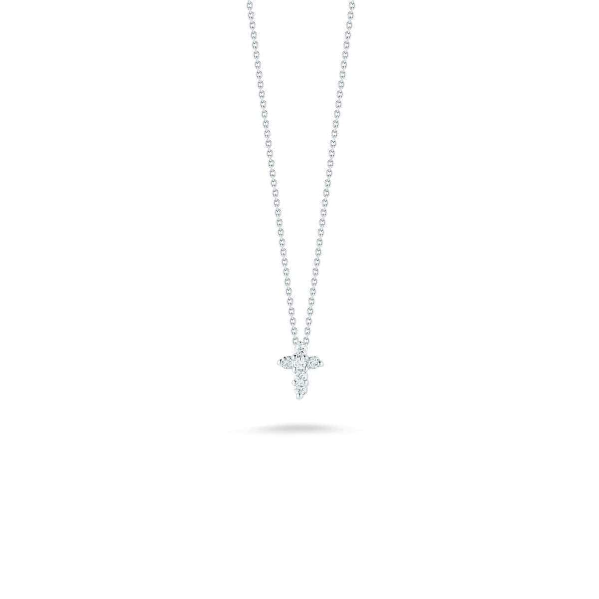 18k White Gold & Diamond Cross Necklace - 001883AWCHX0 - Roberto Coin