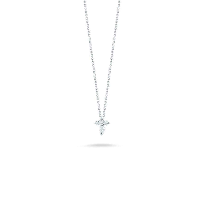 18k White Gold & Diamond Cross Necklace - 001883AWCHX0-Roberto Coin-Renee Taylor Gallery