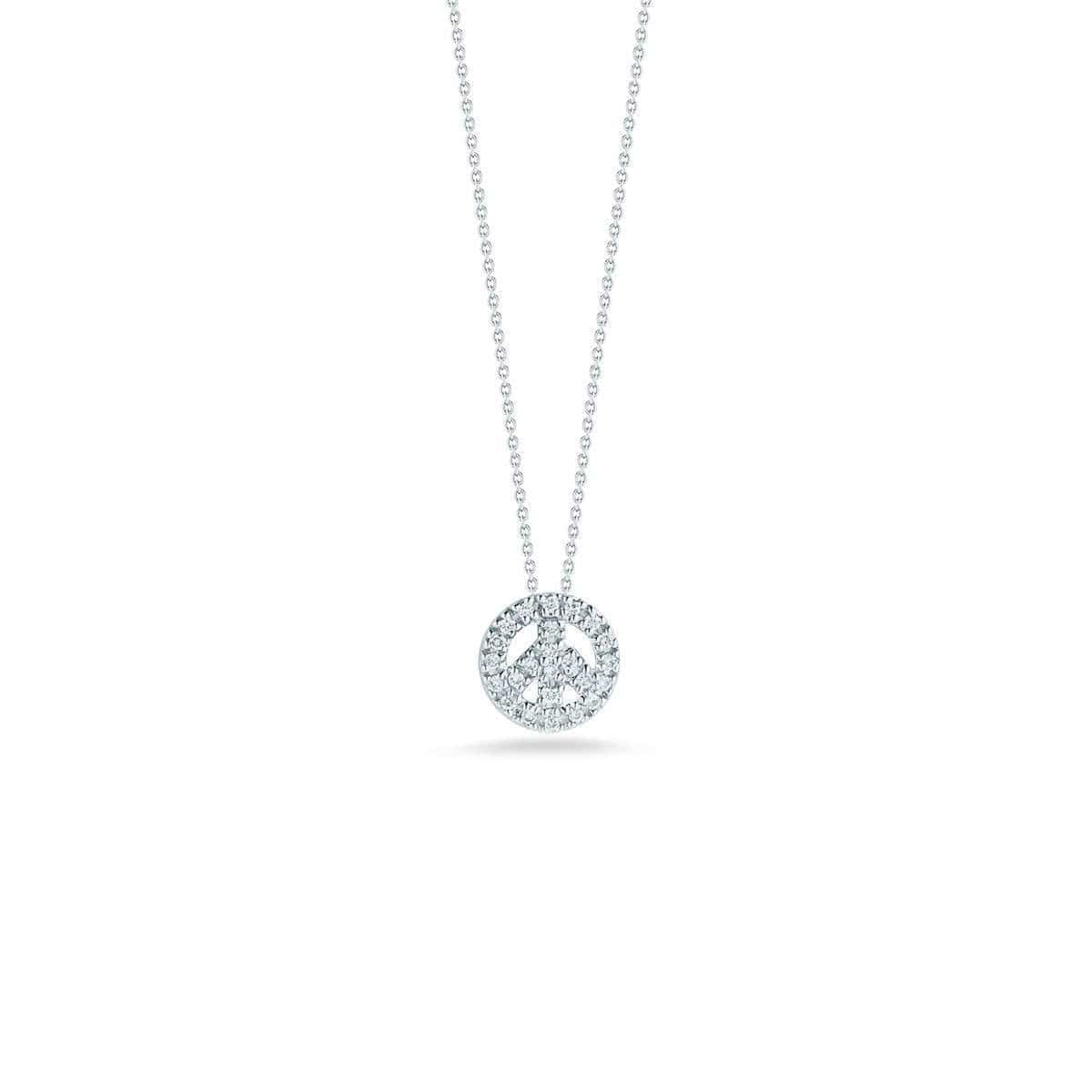 18k White Gold & Diamond Peace Necklace - 001644AWCHX0-Roberto Coin-Renee Taylor Gallery