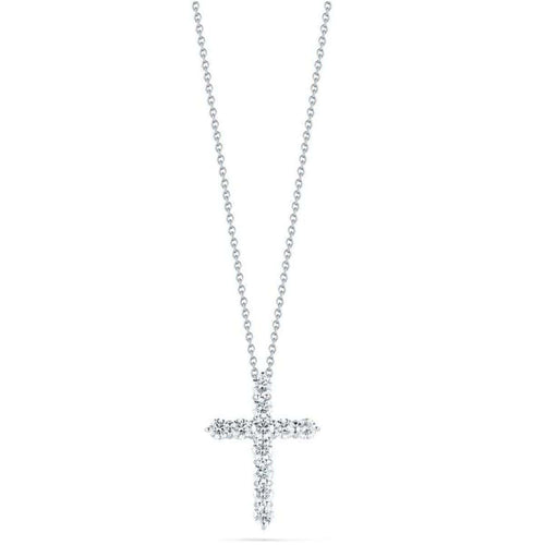 18k White Gold & Diamond Cross Necklace - 001143AWCHX0-Roberto Coin-Renee Taylor Gallery