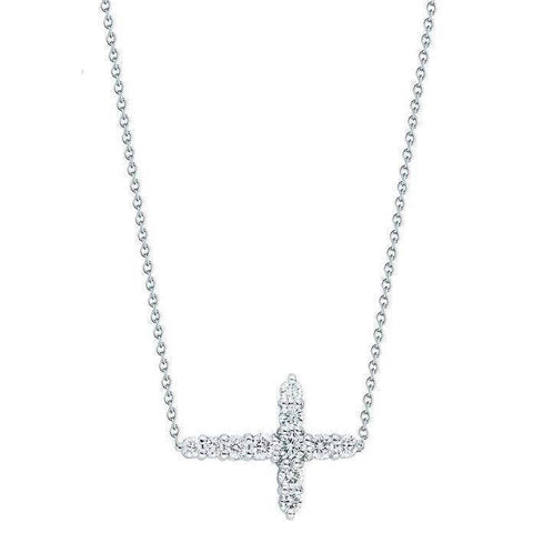 18k White Gold & Diamond Cross Necklace - 001857AWCHX1-Roberto Coin-Renee Taylor Gallery