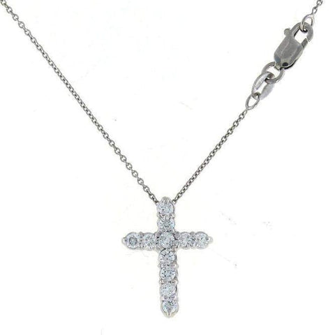 18k White Gold & Diamond Cross Necklace - 001858AWCHX0-Roberto Coin-Renee Taylor Gallery