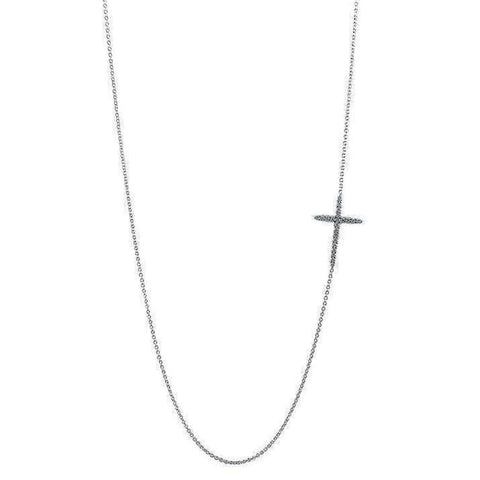 18k White Gold & Diamond Cross Necklace - 001618AWCHX2-Roberto Coin-Renee Taylor Gallery