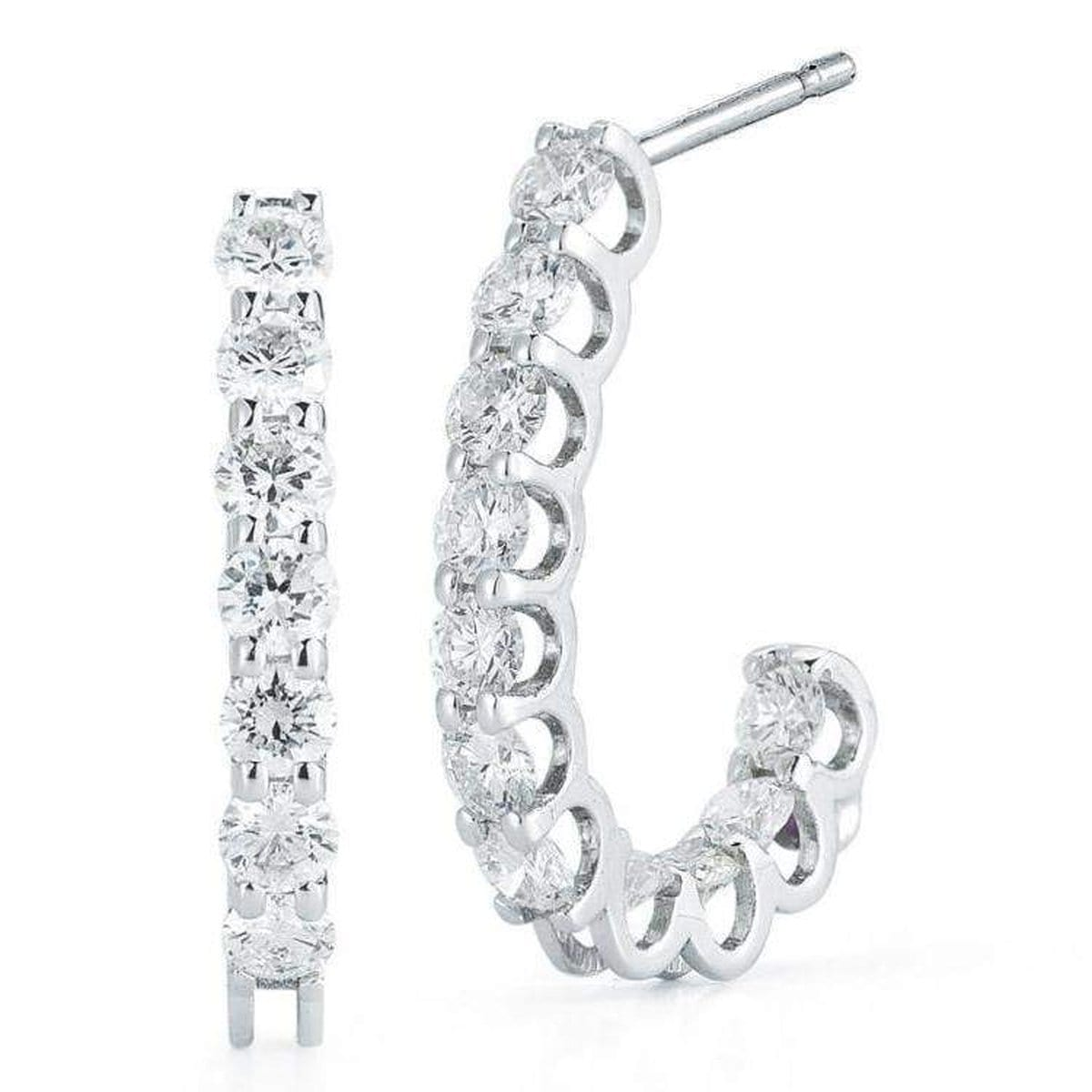 18k White Gold & Diamond Extra Small J Shape Earrings - 000957AWERX0-Roberto Coin-Renee Taylor Gallery