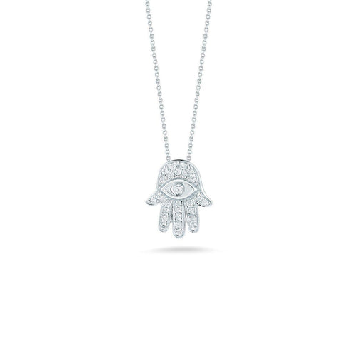 18k White Gold & Diamond Hamsa Necklace - 000322AWCHX0-Roberto Coin-Renee Taylor Gallery