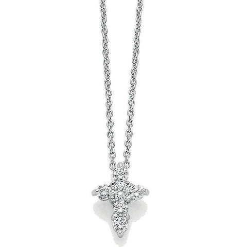 18k White Gold & Diamond Cross Necklace - 001154AWCHX0-Roberto Coin-Renee Taylor Gallery