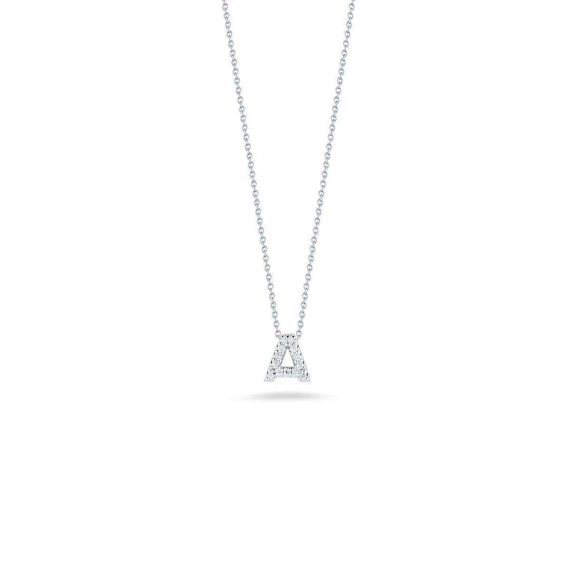 18k White Gold & Diamond Love Letter A Necklace - 001634AWCHXA-Roberto Coin-Renee Taylor Gallery