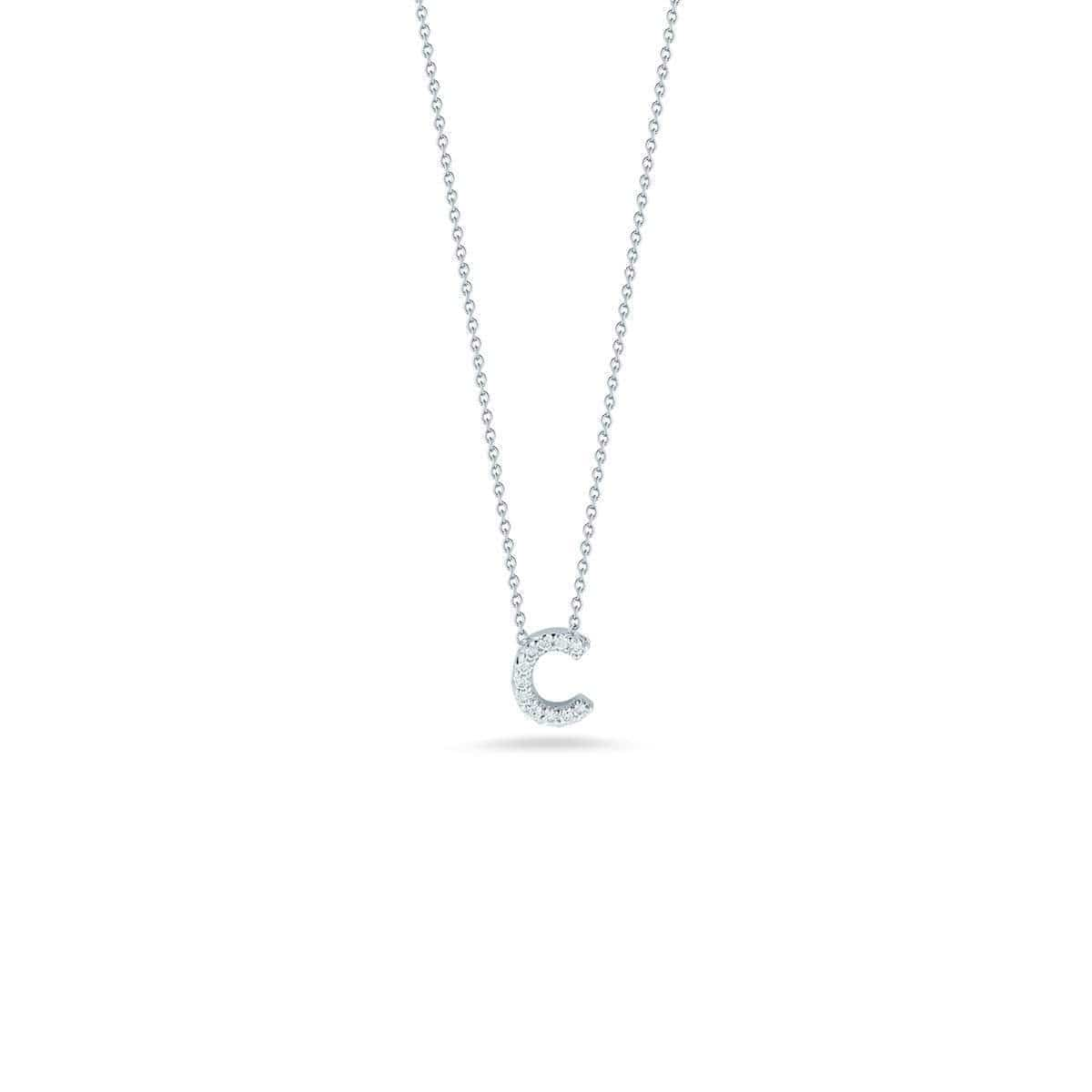 18k White Gold & Diamond Love Letter C Necklace - 001634AWCHXC-Roberto Coin-Renee Taylor Gallery