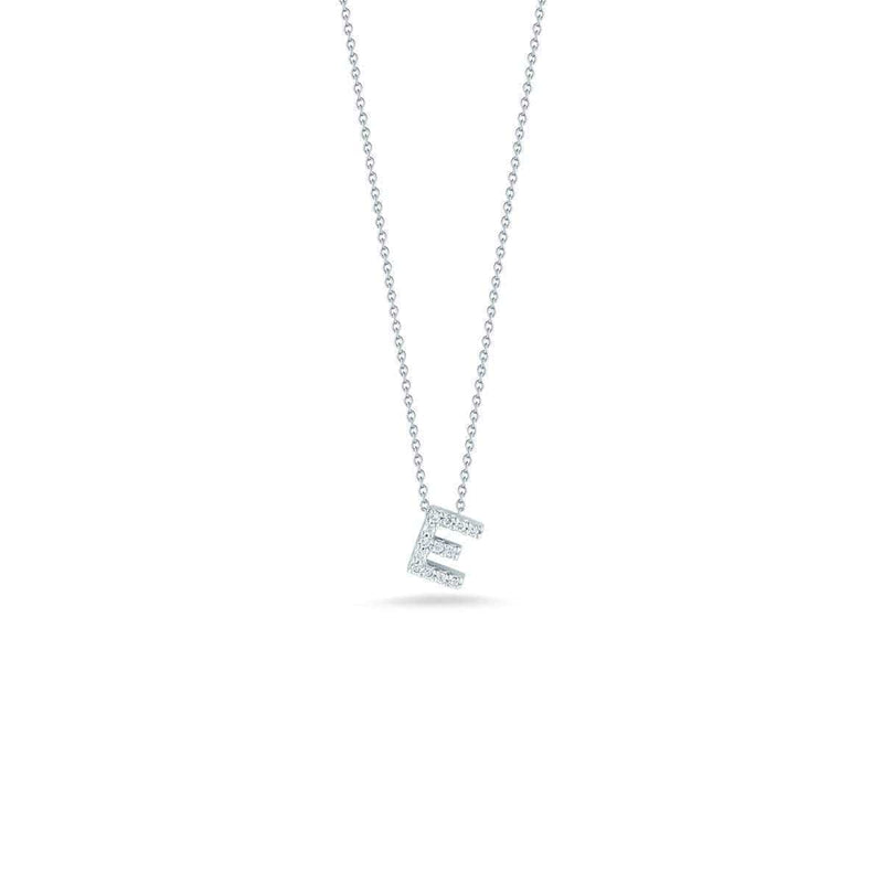 18k White Gold & Diamond Love Letter E Necklace - 001634AWCHXE-Roberto Coin-Renee Taylor Gallery