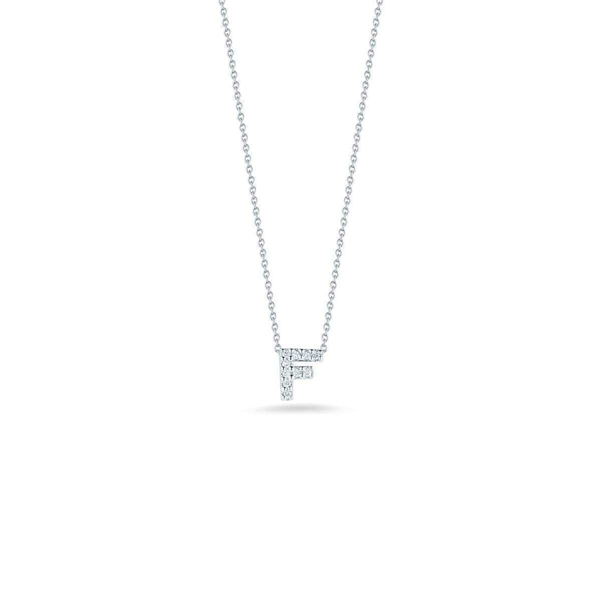 18k White Gold & Diamond Love Letter F Necklace - 001634AWCHXF-Roberto Coin-Renee Taylor Gallery