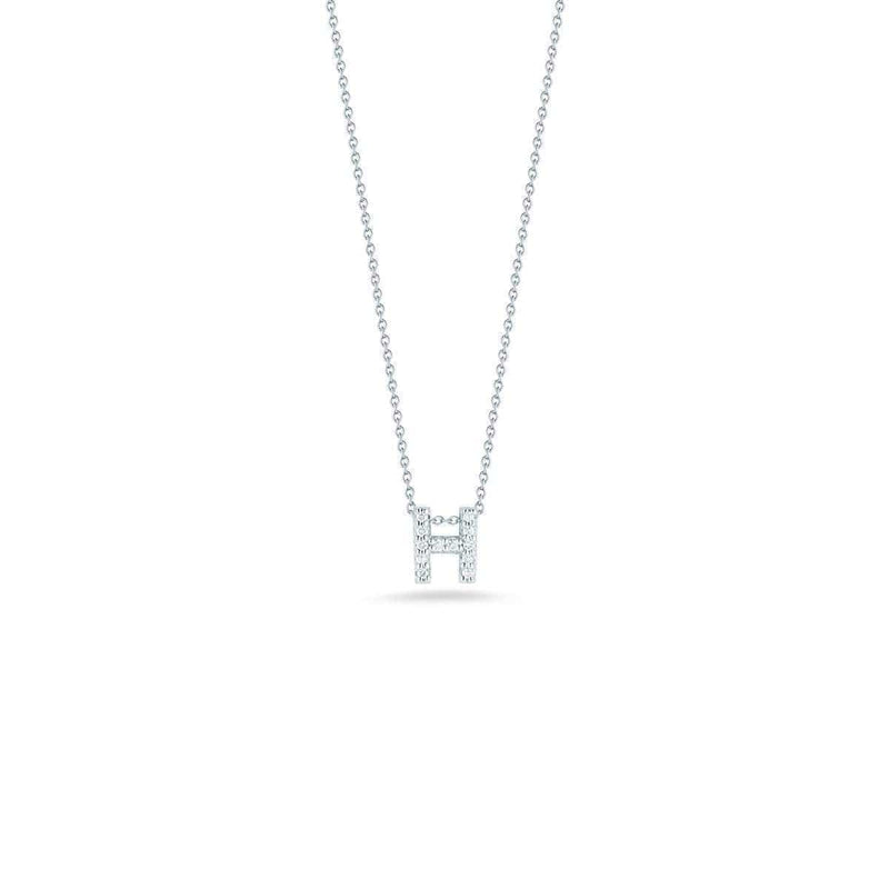 18k White Gold & Diamond Love Letter H Necklace - 001634AWCHXH-Roberto Coin-Renee Taylor Gallery