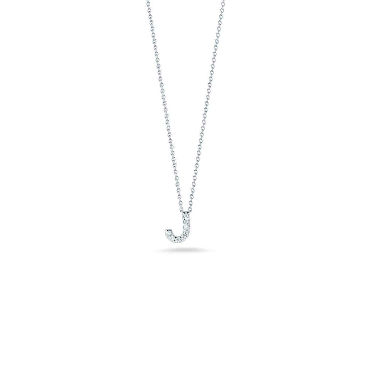 18k White Gold & Diamond Love Letter J Necklace - 001634AWCHXJ-Roberto Coin-Renee Taylor Gallery