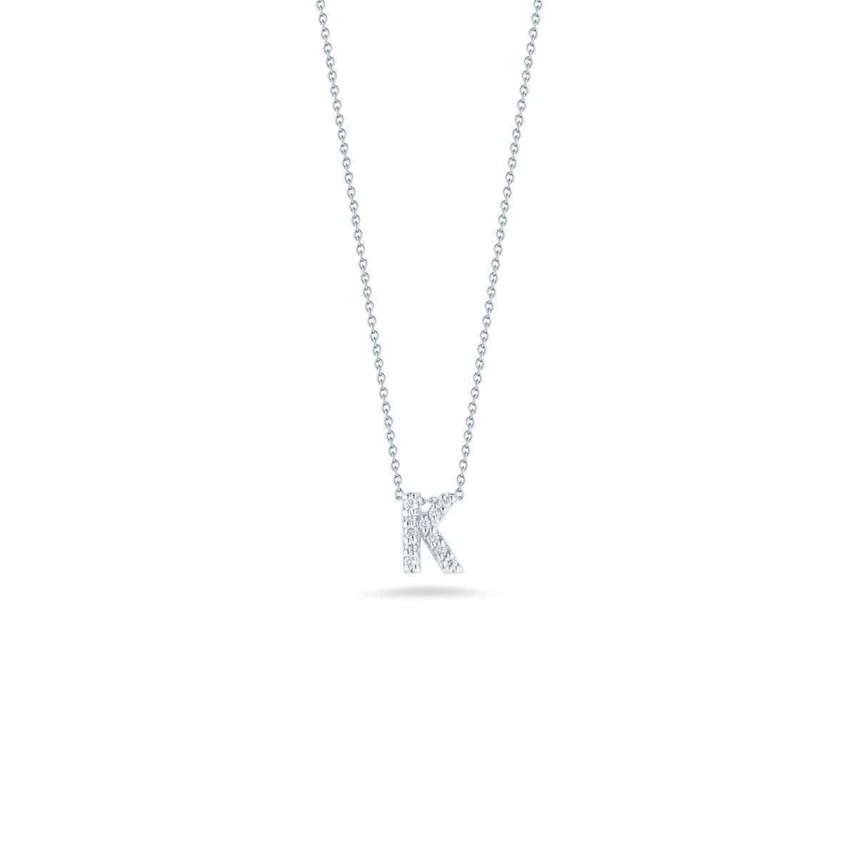 18k White Gold & Diamond Love Letter K Necklace - 001634AWCHXK-Roberto Coin-Renee Taylor Gallery