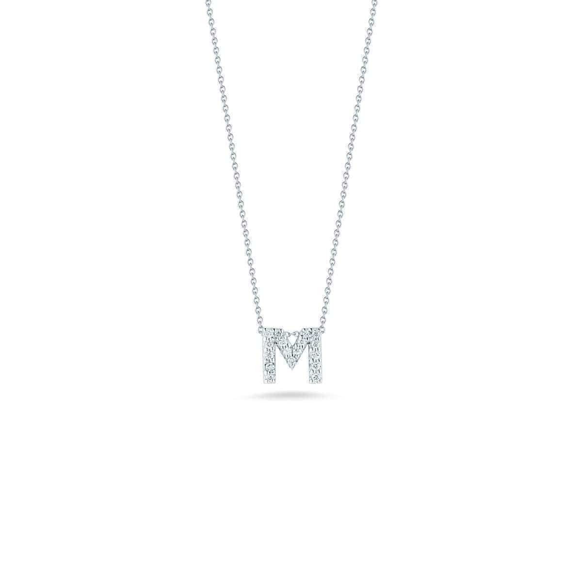 18k White Gold & Diamond Love Letter M Necklace - 001634AWCHXM-Roberto Coin-Renee Taylor Gallery