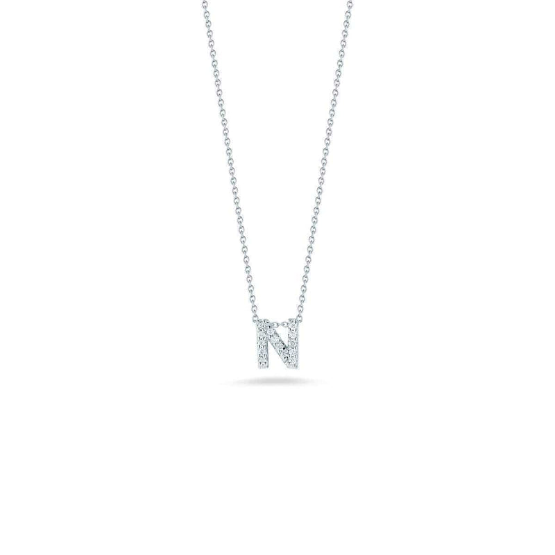 18k White Gold & Diamond Love Letter N Necklace - 001634AWCHXN-Roberto Coin-Renee Taylor Gallery