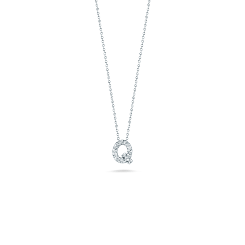 18k White Gold & Diamond Love Letter Q Necklace - 001634AWCHXQ-Roberto Coin-Renee Taylor Gallery