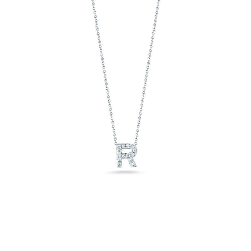 18k White Gold & Diamond Love Letter R Necklace - 001634AWCHXR-Roberto Coin-Renee Taylor Gallery