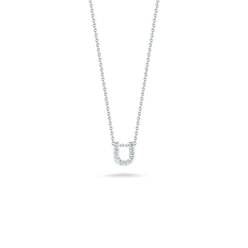 18k White Gold & Diamond Love Letter U Necklace - 001634AWCHXU-Roberto Coin-Renee Taylor Gallery