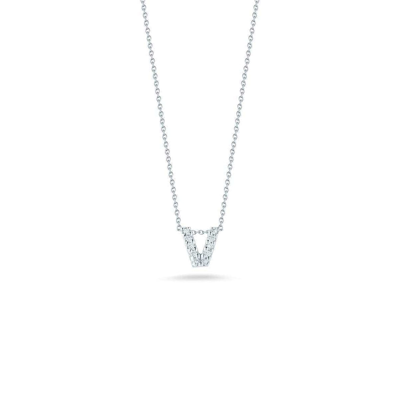 18k White Gold & Diamond Love Letter V Necklace - 001634AWCHXV-Roberto Coin-Renee Taylor Gallery