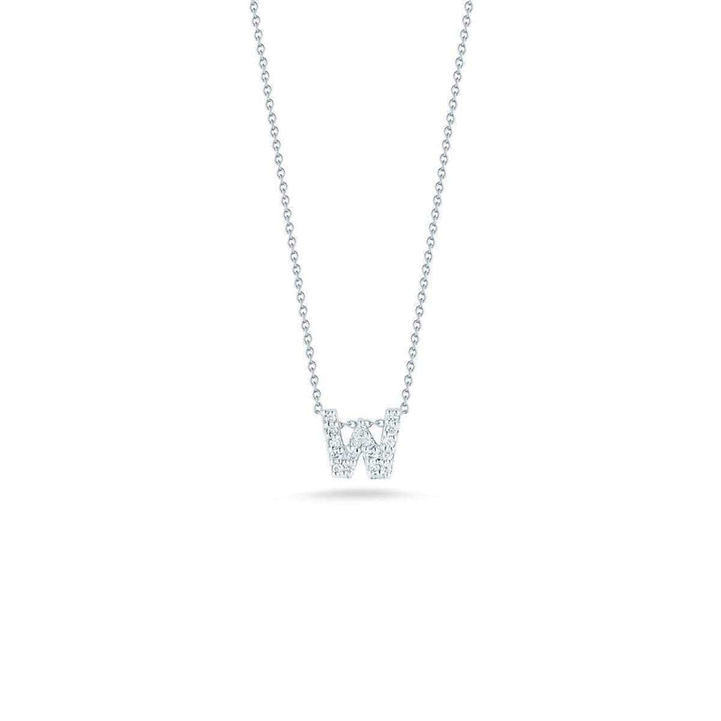 18k White Gold & Diamond Love Letter W Necklace - 001634AWCHXW-Roberto Coin-Renee Taylor Gallery