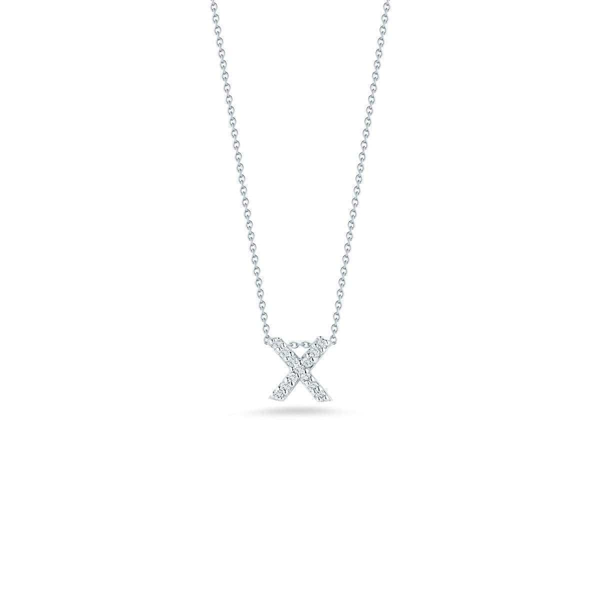 18k White Gold & Diamond Love Letter X Necklace - 001634AWCHXX-Roberto Coin-Renee Taylor Gallery