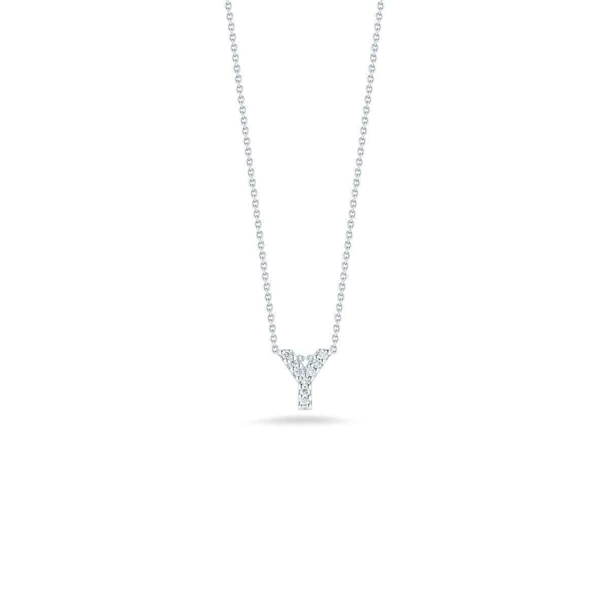 18k White Gold & Diamond Love Letter Y Necklace - 001634AWCHXY-Roberto Coin-Renee Taylor Gallery