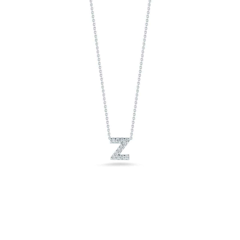18k White Gold & Diamond Love Letter Z Necklace - 001634AWCHXZ-Roberto Coin-Renee Taylor Gallery