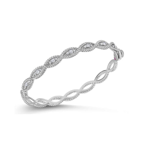 18k White Gold & Diamond Bangle - 7771066AWBAX-Roberto Coin-Renee Taylor Gallery
