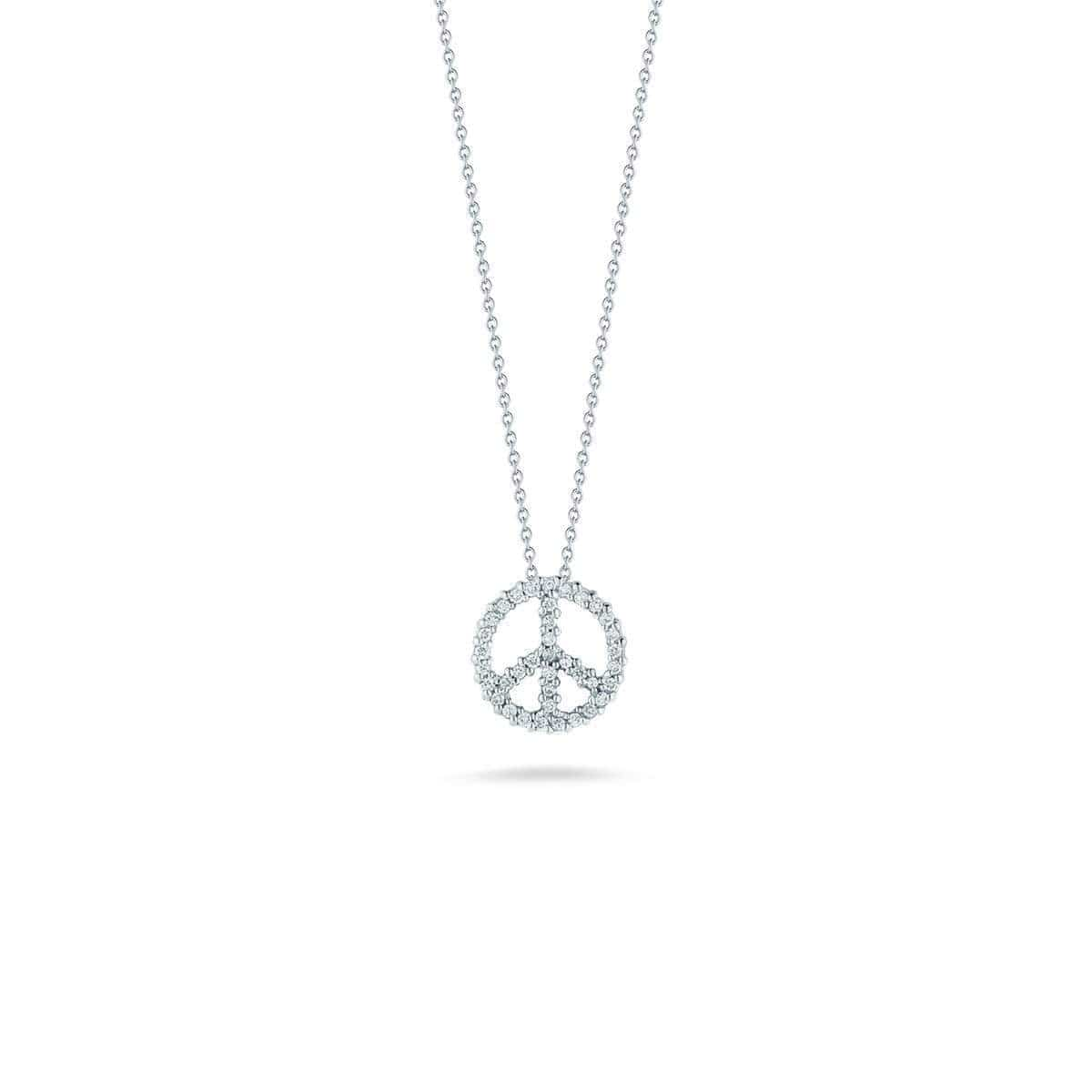 18k White Gold & Diamond Peace Necklace - 001683AWCHX0-Roberto Coin-Renee Taylor Gallery